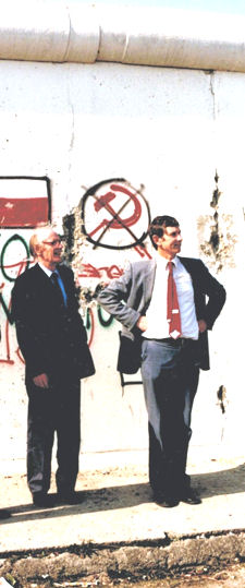 Harry Leck and John Colligon (right) standing by the Berlin Wall. The picture was taken on 16th March 1990 as Harry & John travelled to the Executive Council Meeting (ECM62) of IUVSTA.